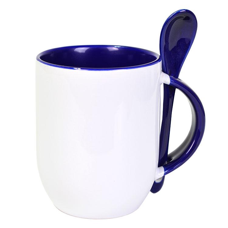Sublimasyon İçi ve Kulpu Mavi Kaşıklı Porselen Kupa