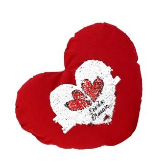 Best Hediye - Kırmızı Kalpli Sihirli Pullu Büyük Love Yastık Kılıfı (1)