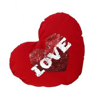 Kırmızı Kalpli Sihirli Pullu Büyük Love Yastık Kılıfı - Thumbnail