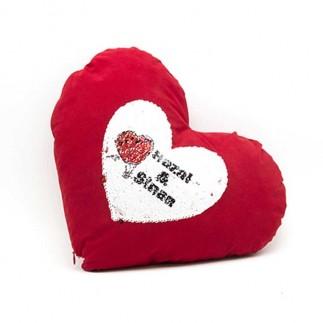 Kırmızı Kalpli Sihirli Pullu Love Yastık - Thumbnail