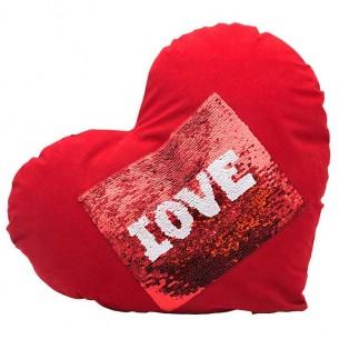 Kırmızı Kare Sihirli Pullu Love Yastık - Thumbnail