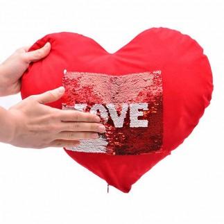 Best Hediye - Kırmızı Kare Sihirli Pullu Love Yastık (1)