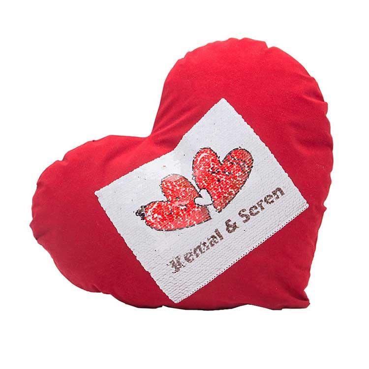 Kırmızı Kare Sihirli Pullu Love Yastık