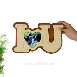 Küçük Ahşap I Love You Çerçeve - Thumbnail