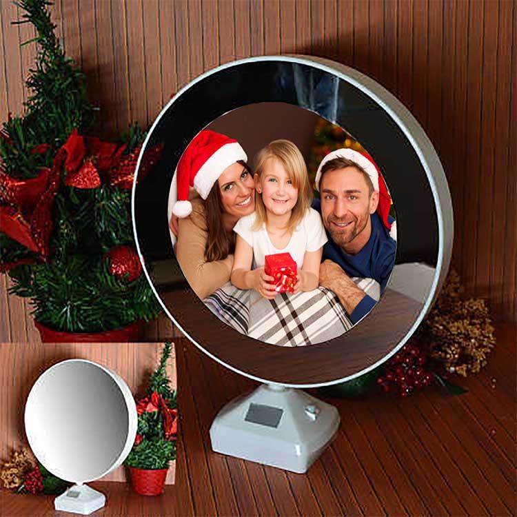 Yuvarlak Led Sihirli Ayna Fotoğraf Çerçevesi - Thumbnail