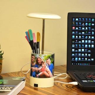 Ledışıklı Kalemlik Masaüstü Okul-Ofis-Öğretmen Fotoğraf Çerçevesi - Thumbnail