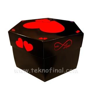 Patlayan Aşk Kutusu 4'lü Klasik Siyah Demonte - Thumbnail