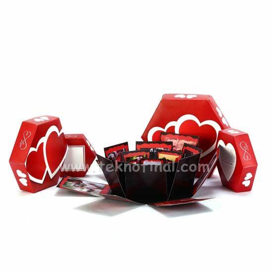 Patlayan Aşk Kutusu 4'lü Kırmızı Çiftkalp Demonte