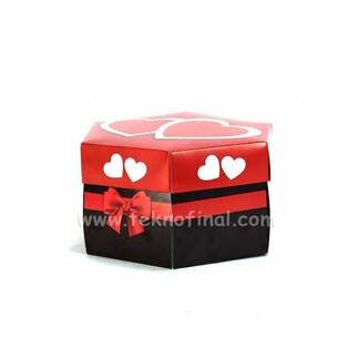 NobbyStar Hediye - Patlayan Aşk Kutusu 4'lü Kırmızı Çiftkalp Demonte (1)