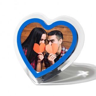 Pleksiglas Mavi Kalp Fotoğraf Çerçevesi - Thumbnail