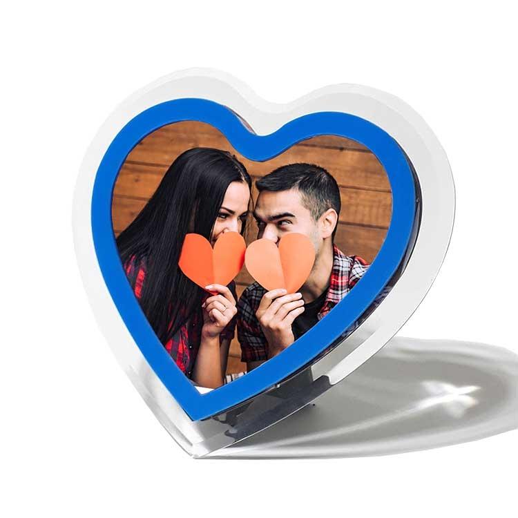 Pleksiglas Mavi Kalp Fotoğraf Çerçevesi
