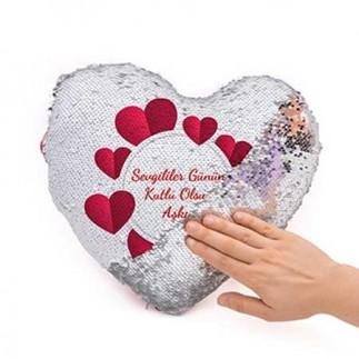 Sihirli Pullu Kalp Yastık - Gold Silver & Kırmızı - Thumbnail