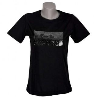 Unisex Sihirli Pullu Sublimasyon Sıfıryaka Pamuklu Siyah T-shirt - Thumbnail