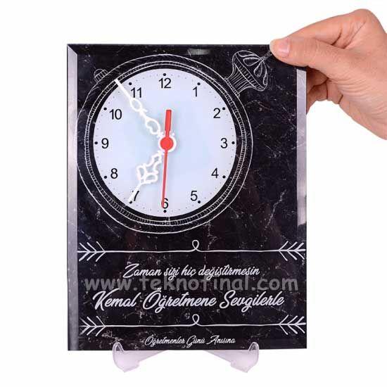 Sublimasyon Ayaklı Cam Masa Saati (18x23)