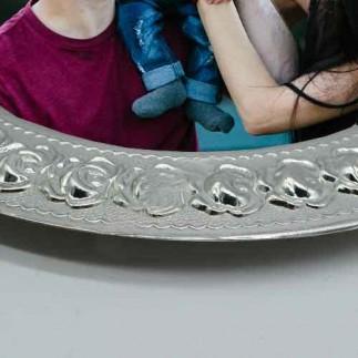 Sublimasyon Gül Desen Silver - Gümüş Metal Tabak - Thumbnail