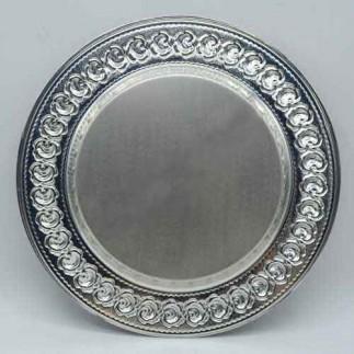 Best Hediye - Sublimasyon Gül Desen Silver - Gümüş Metal Tabak (1)