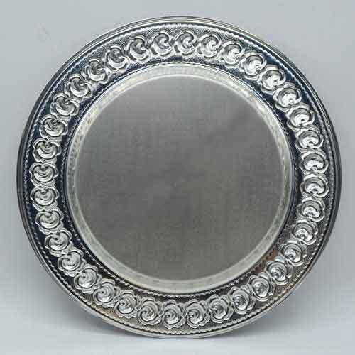 Sublimasyon Gül Desen Silver - Gümüş Metal Tabak