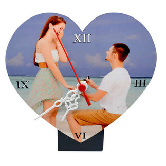 Sublimasyon Hdf Standlı Kalp Masa Saati - Thumbnail