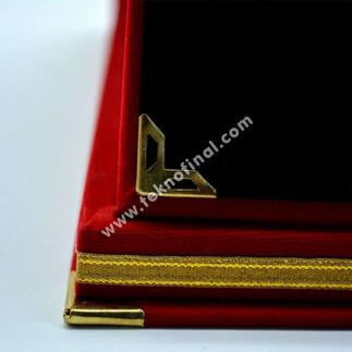 Best Transfer Baskı - Kırmızı Kadife Albüm Plaket Kutusu (1)