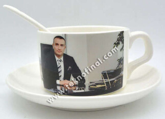 Sublimasyon Porselen Kahve Fincan Seti - Kutulu - Thumbnail
