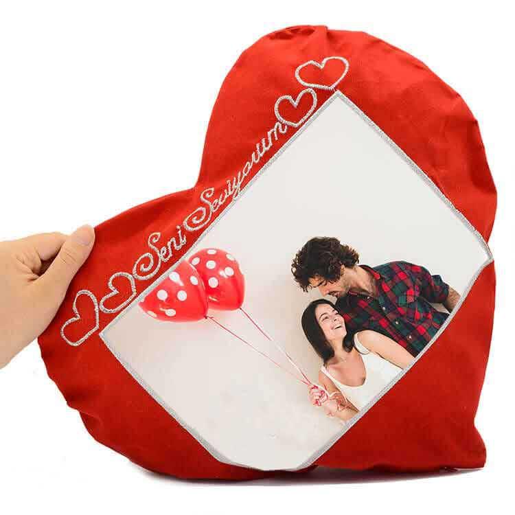 Sublimasyon 'Seni Seviyorum' Kalpli Kırmızı Yastık (Yatay)