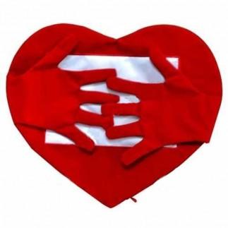 Best Hediye - Sublimasyon Kırmızı Kollu Kalp Yastık Kılıfı (1)