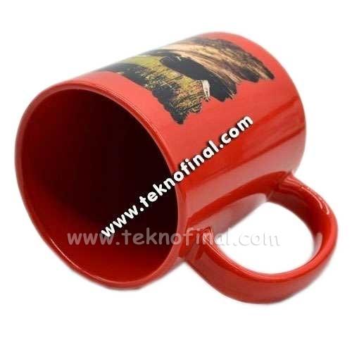 Sublimasyon Dekoratif Kırmızı Kupa Bardak
