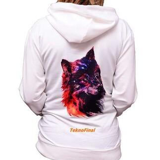 Best Hediye - Cepli Kapşonlu Sublimasyon Beyaz Unisex Sweatshirt (1)