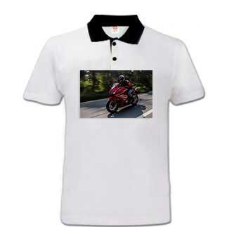 Sublimasyon Siyah Polo Yaka Pamuk-Polyester Tişört