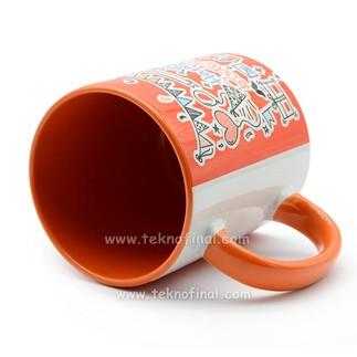 - Sublimasyon Porselen Kulbu ve İçi Turuncu Kupa (1)