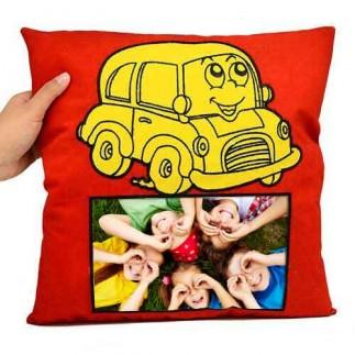 Sublimasyon Sarı Arabalı Kırmızı Kare Süet Yastık - Thumbnail