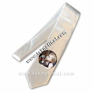 Best Hediye - Sublimasyon Saten Beyaz Kravat (1)