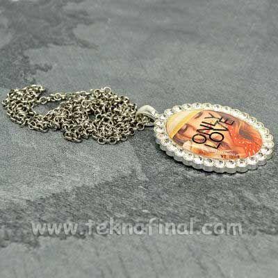 Sublimasyon Oval Silver - Gümüş Metal Kolye