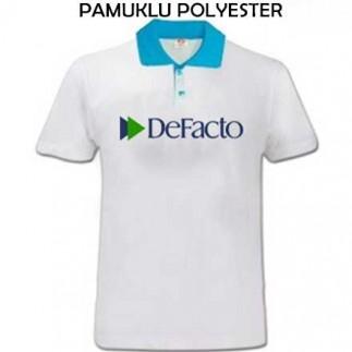 Sublimasyon Turkuaz Polo Yaka Pamuk-Polyester T-Shirt - Thumbnail