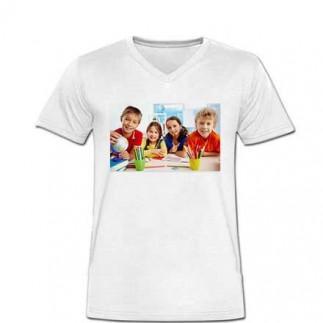 Sublimasyon Beyaz V Yaka Pamuk-Polyester T-Shirt - Thumbnail