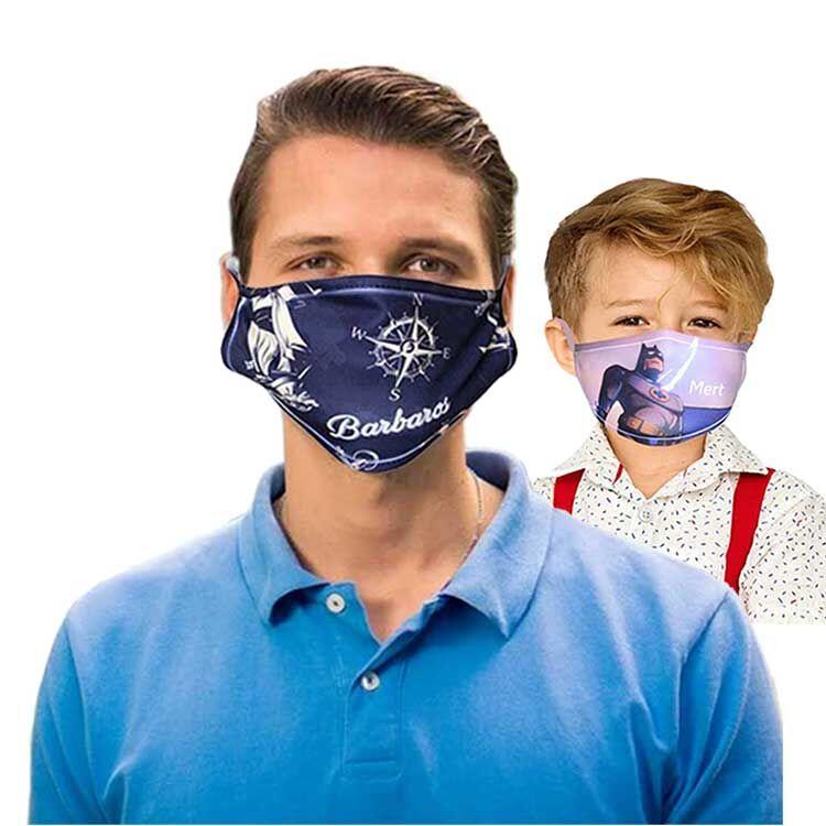Sublimasyon Beyaz Biyeli Yıkanabilir Maske - Çocuk ve Yetişkin