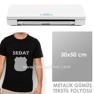 - Metalik Gümüş Tekstil Folyosu (30x50)