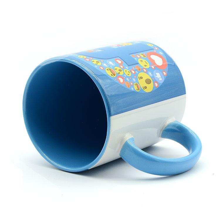 Sublimasyon Porselen Kulpu ve İçi Mavi Kupa - Kutulu - Thumbnail