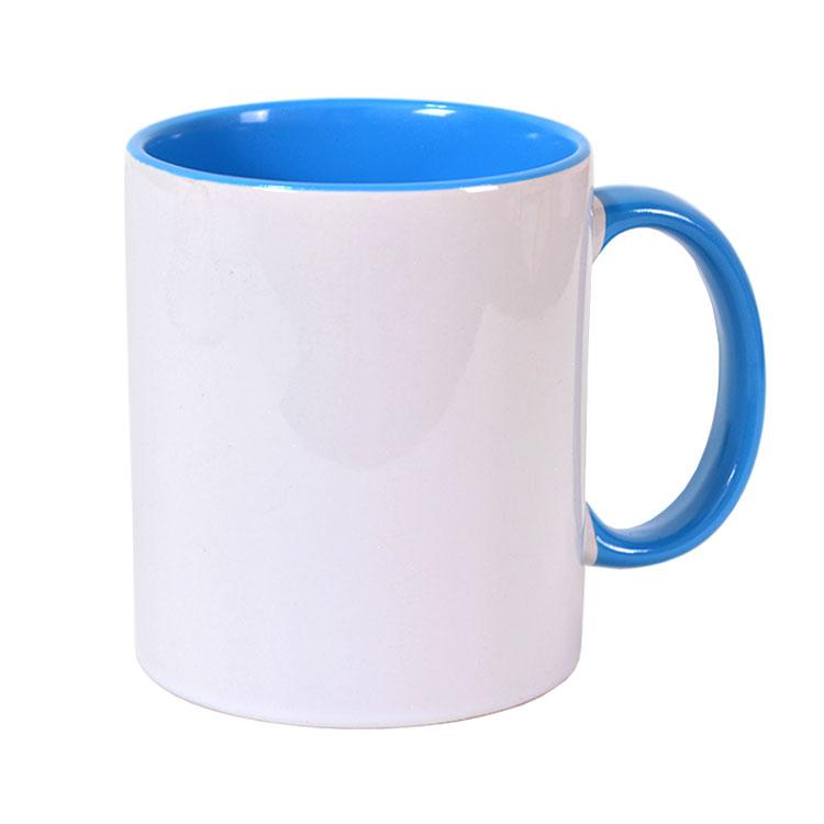 Sublimasyon Porselen Kulpu ve İçi Mavi Kupa - Kutulu