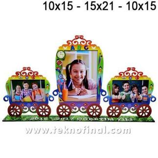 - 3'lü Vagon Çift (10x15) + (15X21) Okul Çerçevesi